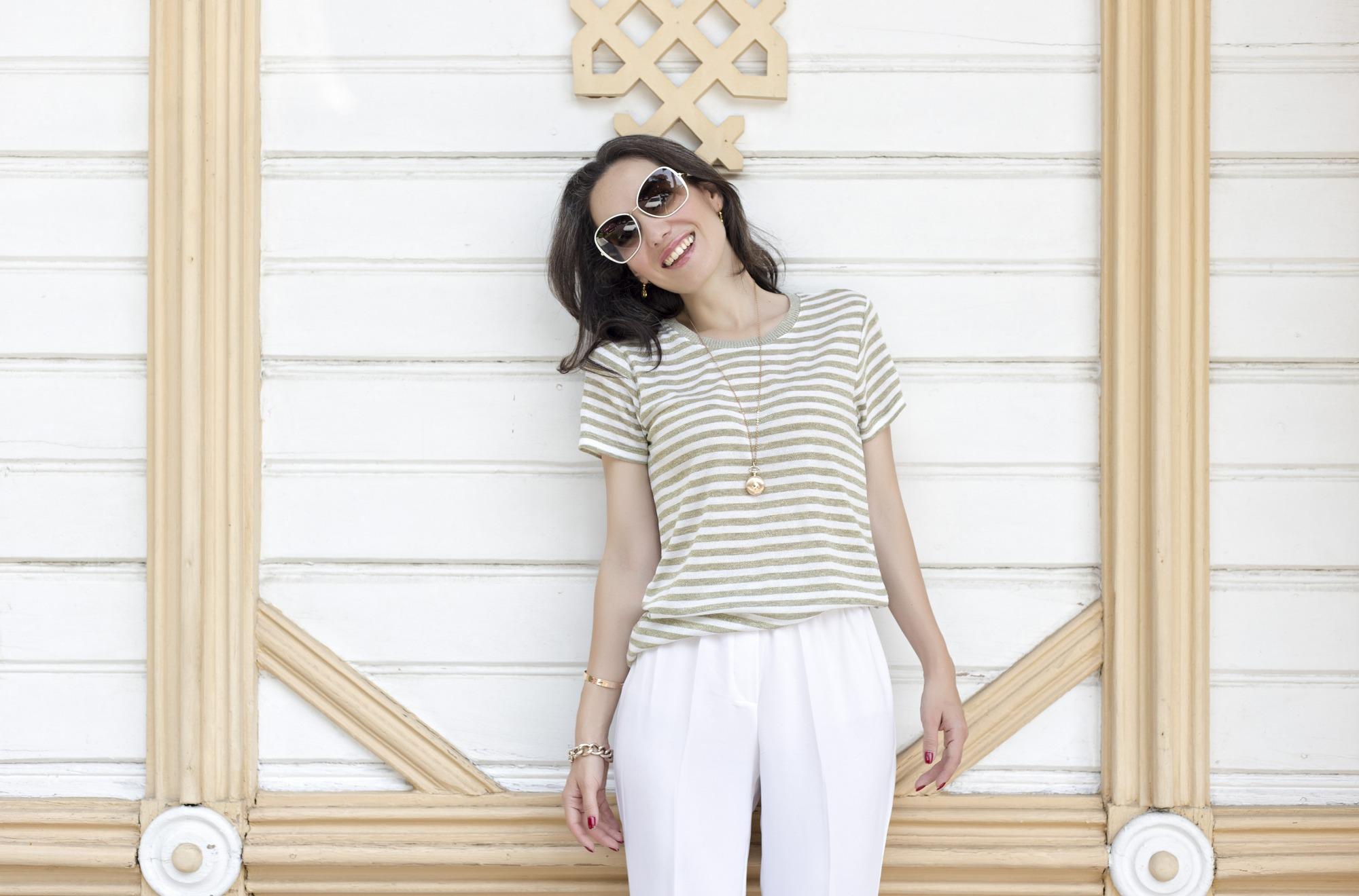 styleboom for morhipo, altın rengi ayakkabı, 2014 beyaz ayakkabı trendi, beyaz ayakkabı nasıl giyilir, gold summer, metalik trendi, manu atelier, taba rengi çanta modelleri, çizgili kombinler, beyaz pantolon nasıl giyilir, beyaz güneş gözlüğü, 2014 güneş gözlüğü modası, bilektan bağlı ayakkabı, altın beyaz kombini
