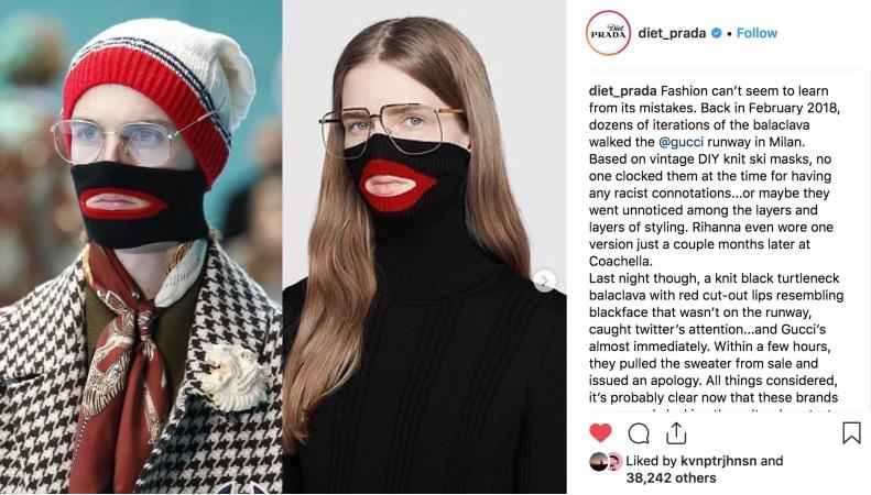 07 Prada'dan sonra Gucci de siyahları kızdırdı. Diet Prada moda endüstrisi hatalarından ders almıyor diyerek paylaşım yaptı